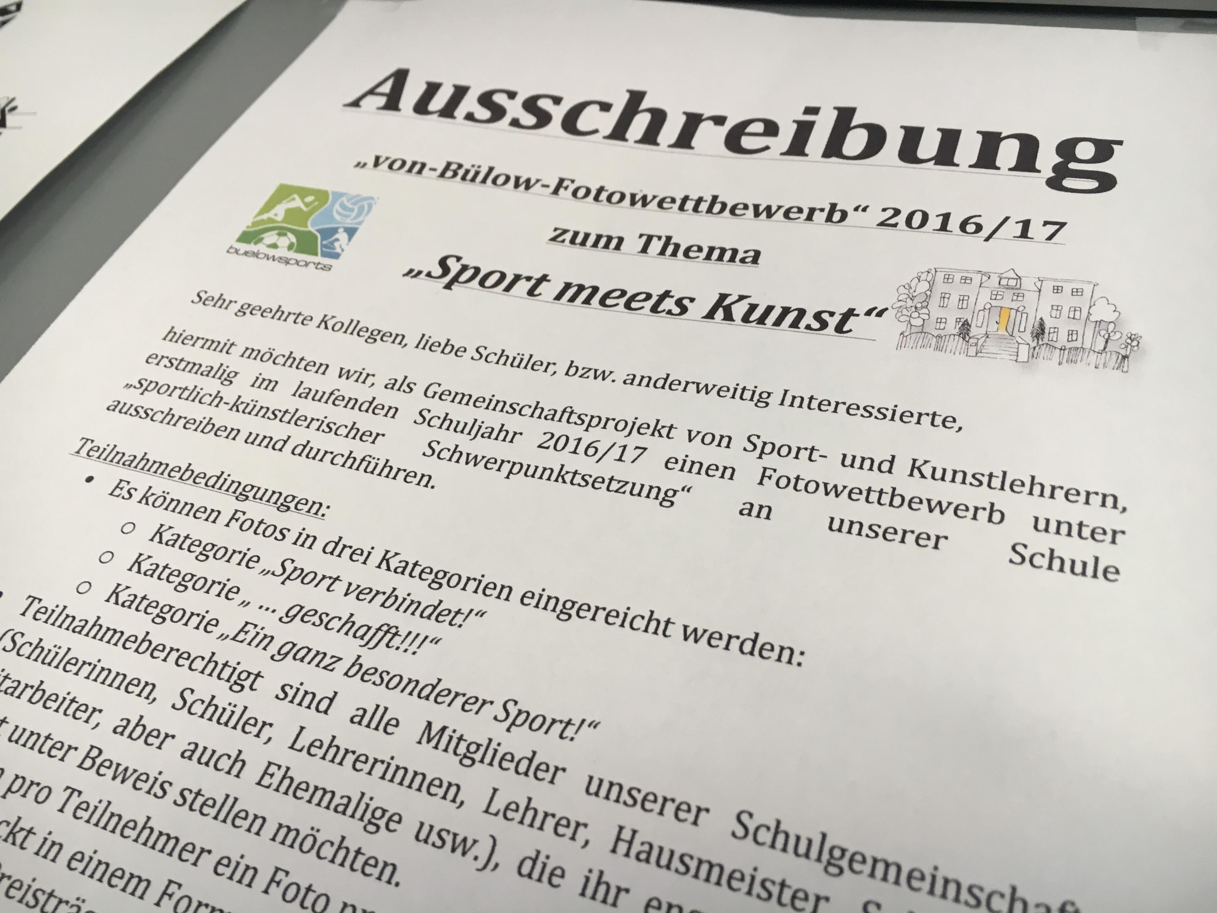 """1. von-Bülow-Fotowettbewerb """"Sport meets Kunst"""""""