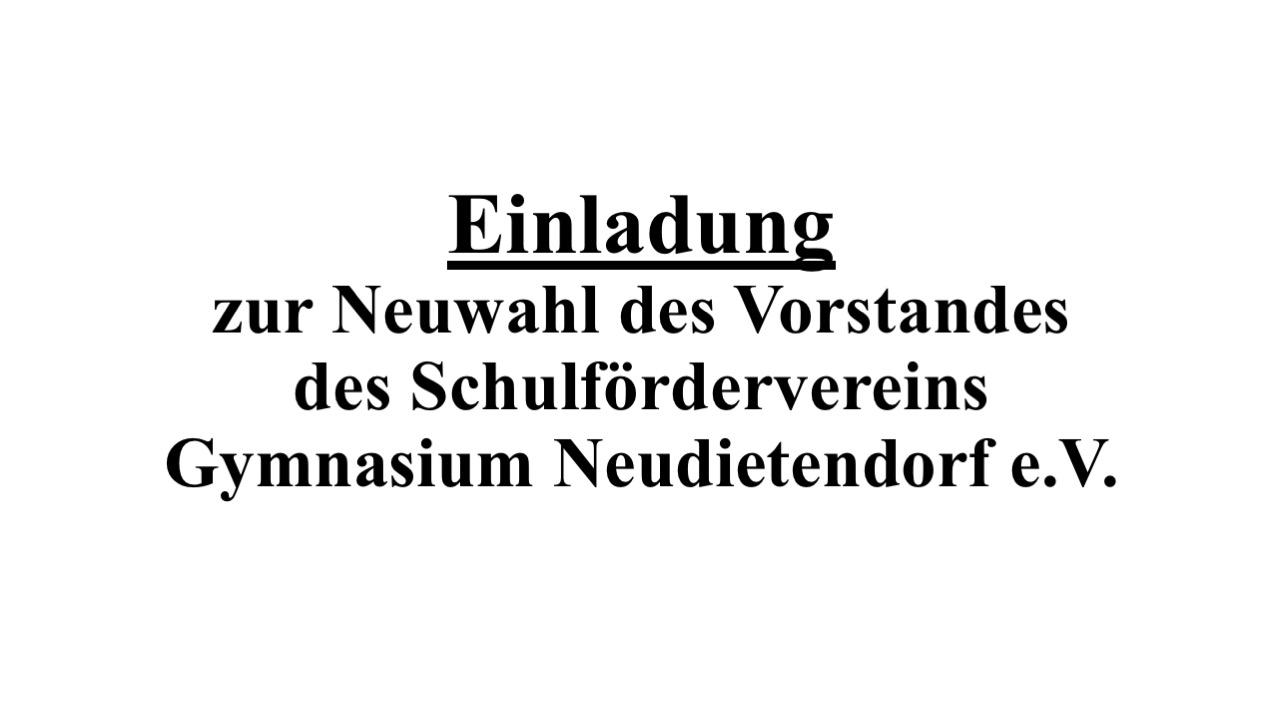An alle Mitglieder des Schulfördervereins Gymnasium Neudietendorf 1993 e.V.