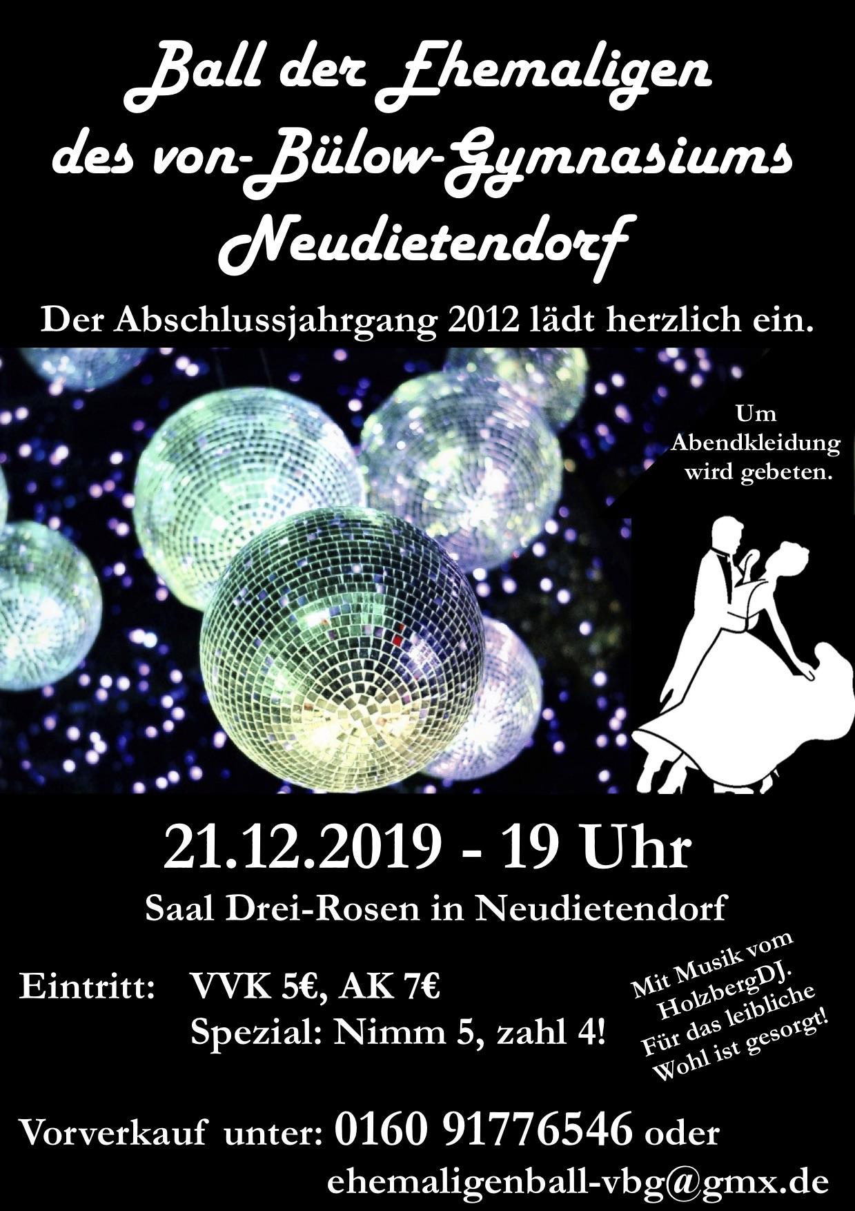 """Vorankündigung """"Ball der Ehemaligen"""" am 21.12.2019"""